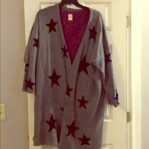 Oversized 3x grey/black Star sweater coat cardigan